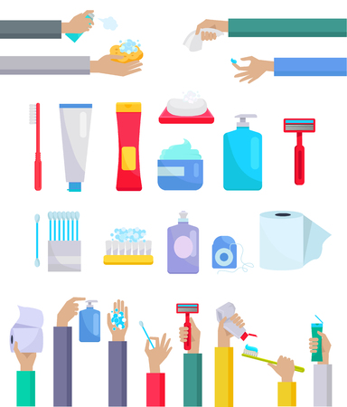 Illustration pour Accessories and hygiene items. Human hands are holding a variety of accessories for the care toothpaste and toothbrush, toilet paper, razor, cream and ear sticks design flat. Vector illustration - image libre de droit
