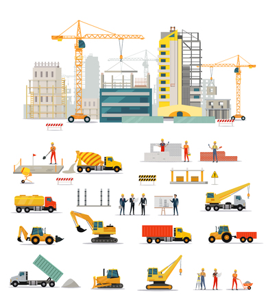 Illustration for Process of construction of residential houses isolated. Big building dormitory area. Icons of construction machinery, construction workers and engineers design flat style. Vector illustration - Royalty Free Image