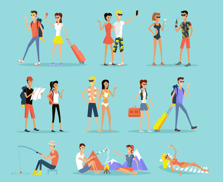 Illustration pour People vacation set man and woman flat design style. People on vacation couple man and woman. Sunbathing on a lounger, sitting around a campfire, fishing and mountain walks. Vector illustration - image libre de droit