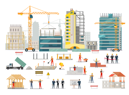 Ilustración de Process of construction of residential houses isolated. Big building dormitory area. Icons of construction machinery, construction workers and engineers design flat style. Vector illustration - Imagen libre de derechos