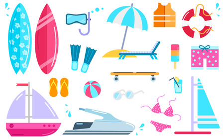 Ilustración de Variety of things for entertainment on beach and water in flat design. Surfboard mask, bal, cocktail, yacht fins, buoy, windsurfing, swimwear, lifejacket slippers, scooter vector illustration. - Imagen libre de derechos