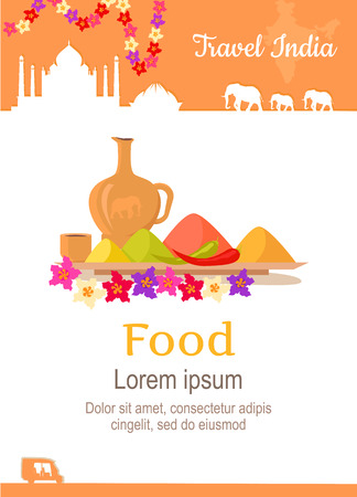 Travel India conceptual poster in flat style design. Summer vacation in exotic countries illustration. Journey to India vector template. Foreign cooking and restaurants, exotic food concept.