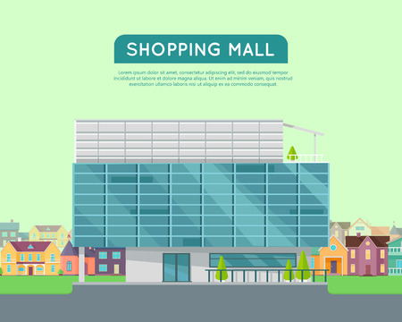 Shopping Mall Web Page Template Flat Design Commercial Building