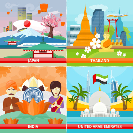 Set of traveling concepts. Flat design. Collection of Japan, Thailand, India, United Arab Emirates posters. Countries attraction and architecture illustrations. Summer vacation in Asia.