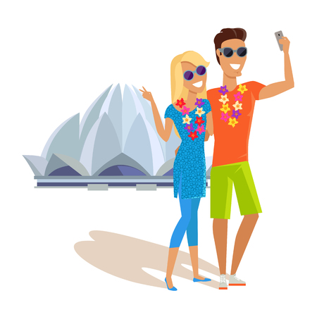 Summer vacation in India concept. Honeymoon in exotic country vector illustration. Selfie on background of famous historical monuments. Couple taking picture near Lotus temple.