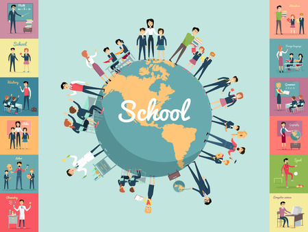 Illustration pour School education in the world concept. Pupils and teachers holding hands around the globe. Set of illustrations with learning process, pupils in school uniform, teacher near blackboard, school subject - image libre de droit