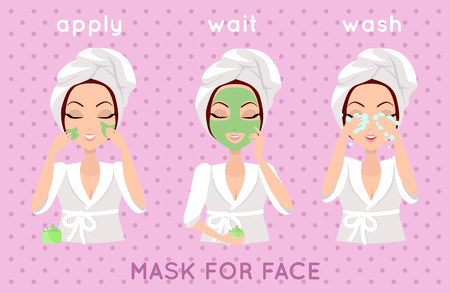 Illustration for Mask for face. Girl applying a face smask for a few minutes to eliminate dead skin cells. Woman instruction how to make up correctly. Girl cares about her look. Part of series of ladies face care. Vector - Royalty Free Image