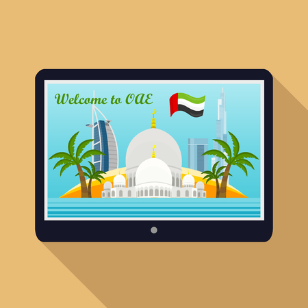 United Arab Emirates traveling banner. Landscape with arabic landmarks on tablet screen. Skyscrapers. Grand Mosques. Nature and architecture. Part of series of travelling around the world. Vector