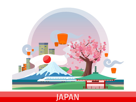 Japan vector concept. Vacation journey in Asia. Illustration with planet surface, city landscape, mount Fuji, lanterns, sakura tree, pagoda, train. Japanese tourist attractions. For travel company ad