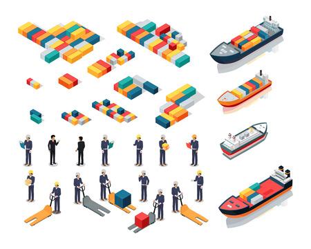 Set of sea port warehouse icons  Isometric projection  Cargo