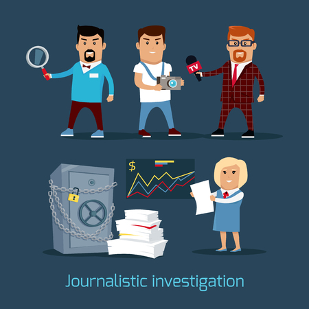 Journalistic investigation concept vector. Flat design. Financial crime, tax evasion, money laundering, corruption illustration. Set of media workers characters investigator, photographer, reporter