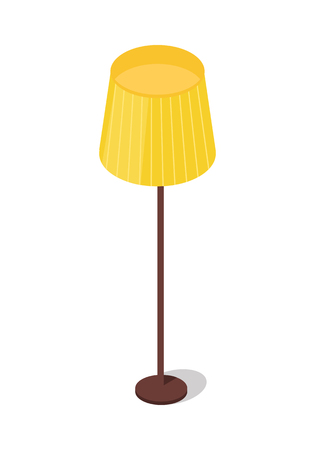 Yellow floor lamp isolated on white background. Contemporary lamp for your interior design. Modern home and office piece of furniture. Energy saving illuminated equipment. Flat style design. Vector