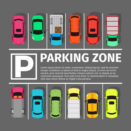 Illustration pour Parking zone conceptual web banner. Parking place sign symbol. Parking lot or car park. City parking structure. Parkade. Shortage parking spaces. Large number of cars in crowded parking. Urban infrastructure. Vector - image libre de droit