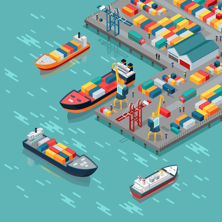 Ilustración de Warehouse port vector concept. Isometric projection. Ships with containers on the berth at the port, cranes, workers. cars, hangars ashore. Transatlantic carriage. For transport, delivery company landing page - Imagen libre de derechos