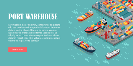 Illustration pour Warehouse port vector conceptual web banner. Isometric projection. Ships with containers on the berth at the port, cranes, workers. cars, hangars ashore. For transport, delivery company landing page - image libre de droit