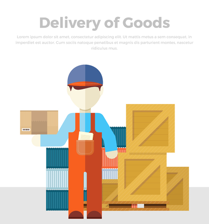 Delivery of goods. Profession courier with box. Delivery man, delivery icon, free delivery, delivery parcel, service delivery, person profession character courier postman. Vector illustration in flat.