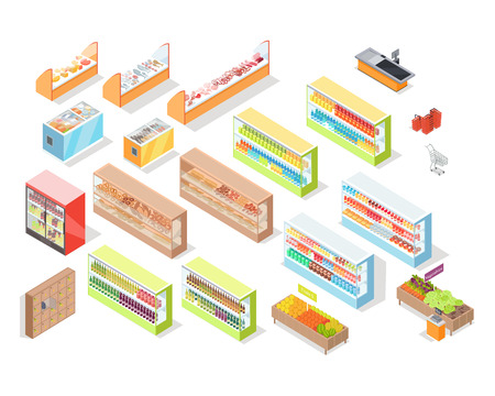 Supermarket departments interior set. Bakery, juices, alcohol, fruits, vegetables, milk, meat and fish, cheese. 3d isometric. Supermarket shelves Grocery store self-service shop icons Vector