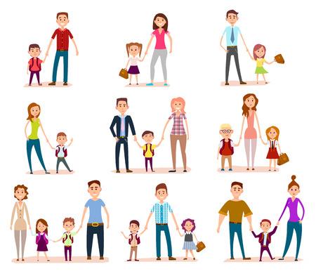 Illustration pour Collection of Parents with Their School Children - image libre de droit