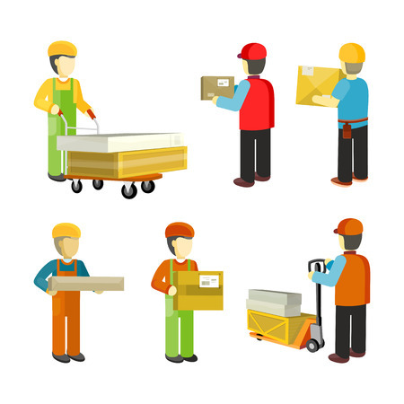 Illustration pour Peope Workers in Warehouse Interior Isoated. - image libre de droit