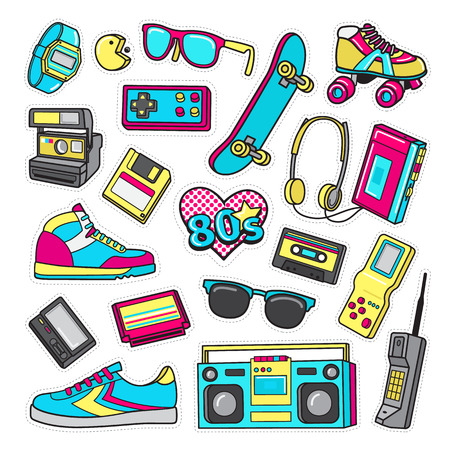 Patch Icons of 80 s. On White Limited Background.