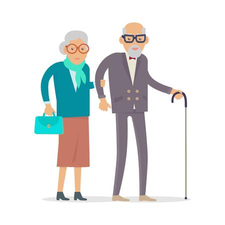 Illustration pour Aged People Walk Isolated. Happy Senior Man Woman - image libre de droit