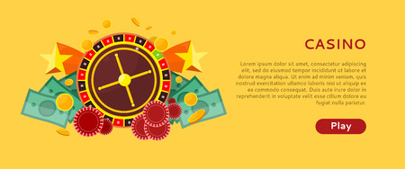 Casino gambling horizontal website template. European roulette wheel, chips and money on yellow background. Banner for online casino. Vector illustration in flat style. Casino background