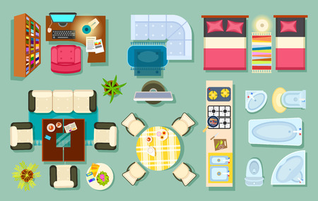 Illustration pour Flat interior top view. Living room, bathroom, bedroom. kitchen, office room. Modern furniture in isometric style. Pieces of furniture and household utensils. Cosy house design. Vector illustration - image libre de droit