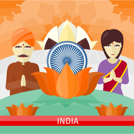 India travelling banner. Landscape with traditional Indian landmarks. Nature and architecture. Lotus Temple flowerlike shape and flower. Buddhism. Part of series of travelling around world. Vector
