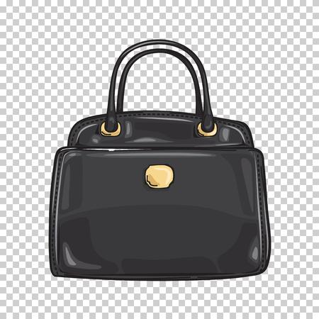 Illustration pour Black Ladies Bag Close-up Fashion Accessory Flat - image libre de droit
