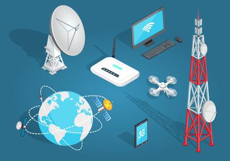 Illustration pour Set of Wireless Connection in Flat Cartoon Style - image libre de droit