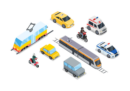 Illustration pour Public Transportation. Traffic Items Collection. - image libre de droit
