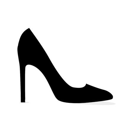 Ilustración de Black Modern Stilleto Shoe Isolated Silhouette - Imagen libre de derechos