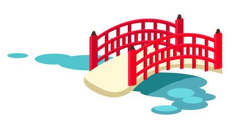 Japanese Arched Garden Bridge Across Pond Vector
