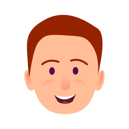 Young Man Smiling Face Flat Vector Icon