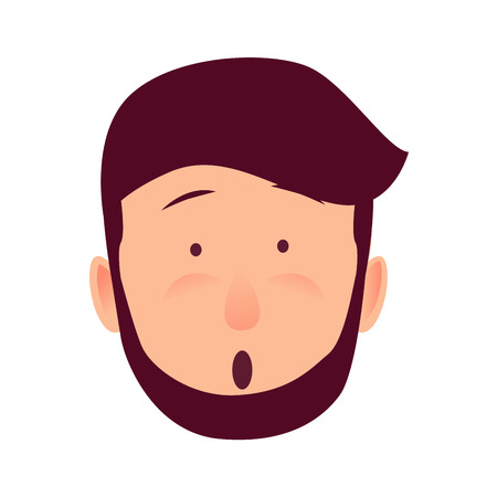 Surprised Young Man Rosy Face Flat Vector Icon