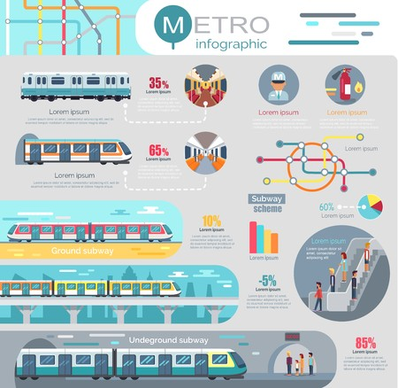 Illustration pour Metro Infographic with Statistics and Schemes - image libre de droit