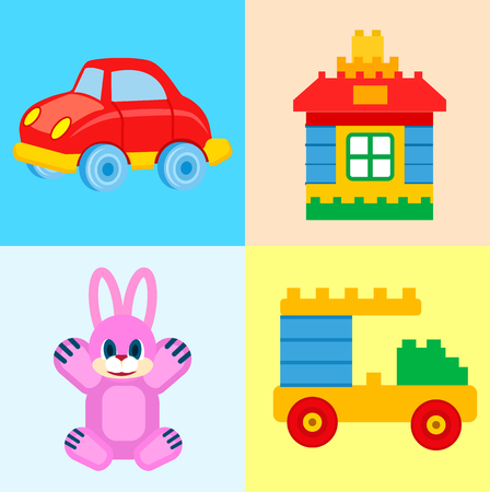 Childrens Toys for Play Time Illustrations Set