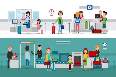 Ilustración de Passport Control Procedure During Crossing Border - Imagen libre de derechos
