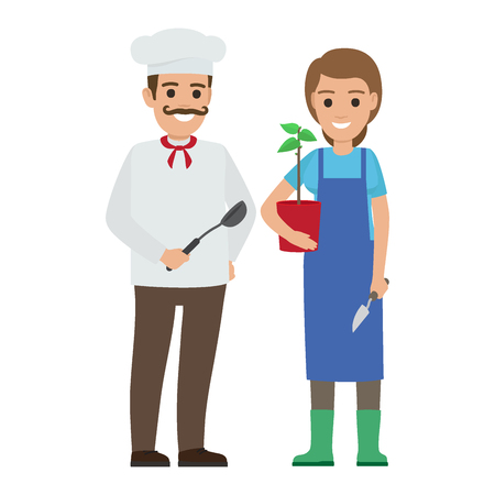 Chef Cook And Gardener Two Smiling Persons Vector Tasmeemme Com