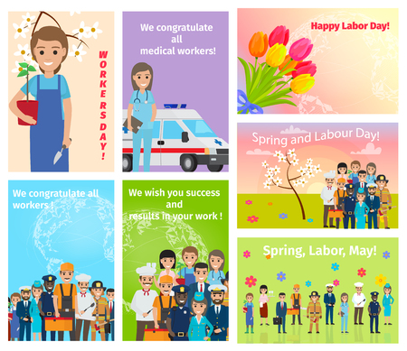 Illustration pour Spring Holiday Labour Day in May for All Workers - image libre de droit