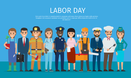 Illustration pour Labor Day Worker Isolated on Blue Cartoon Drawing - image libre de droit