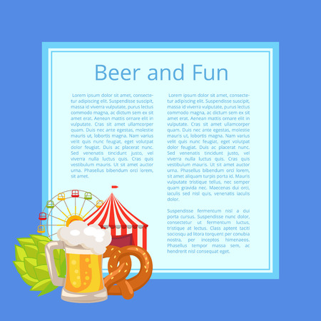 Illustration pour Beer and Fun Poster with Text on Light Blue Square - image libre de droit