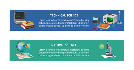 Technical and natural sciences posters with coding equipment, books, globe model and microscope with cell vector illustrations