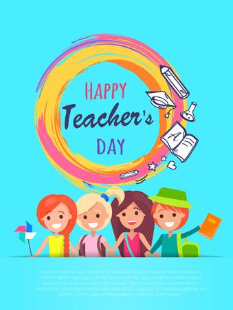 Happy Teachers Day Banner Vector Illustration