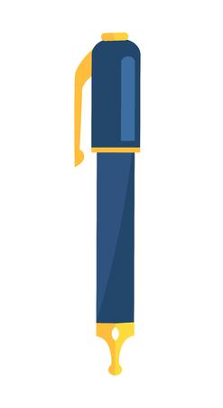 Illustration pour Ink Pen with Blue Body and Golden Writing Elements - image libre de droit