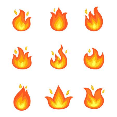 Ilustración de Burning Fire Set of Icons Vector Illustration - Imagen libre de derechos