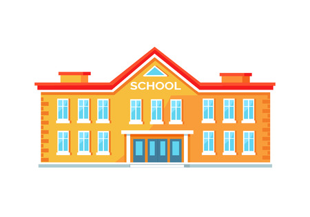 Photo pour Colorful Brick School Building Vector Illustration - image libre de droit