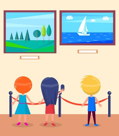 Illustration pour Art Gallery Excursion for School Children Vector - image libre de droit