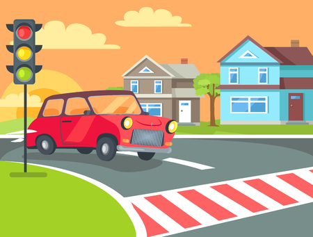Illustration pour Pedestrian crossing with traffic lights sign on road at rural countryside and retro car before crosswalk vector. Home buildings on background of sunset - image libre de droit