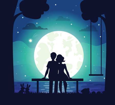 Illustration pour Romantic couple sitting on seaside under moonlight surrounded by lovely family of hairs and hedgehog. Vector illustration with man and woman in love - image libre de droit